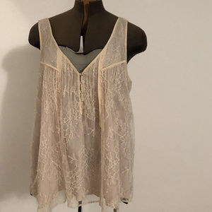 J. Crew tan lace swing tank/ cami with buttons